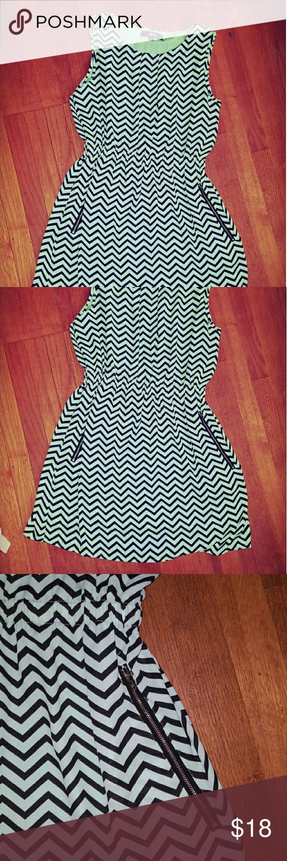 SML chevron dress, nearly new Pale mint green and black chevron lined with pale mint fabric, zipper details on pockets SML  Dresses