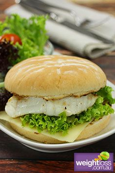 Low Fat Recipes: Grilled Fish Burger. #HealthyRecipes #DietRecipes #WeightlossRecipes weightloss.com.au