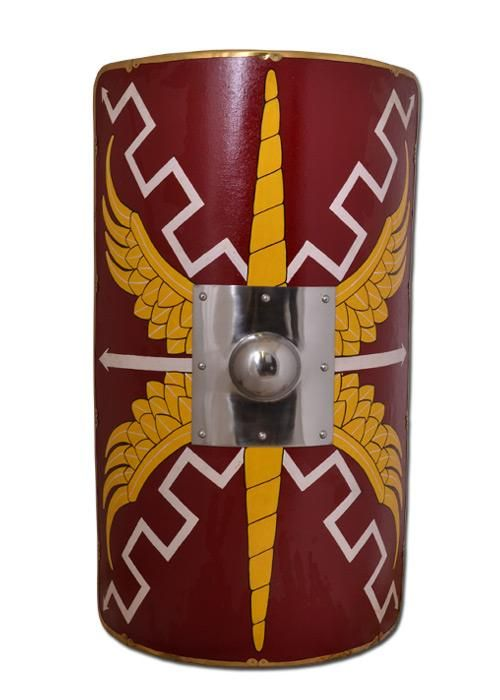 Roman Scutum - Roman Shield, Ancient Rome - Roman Shields - Reconstruction of a typical Shield of the Roman legionaire, rectangular introduced from the first century AD and used until the third century,