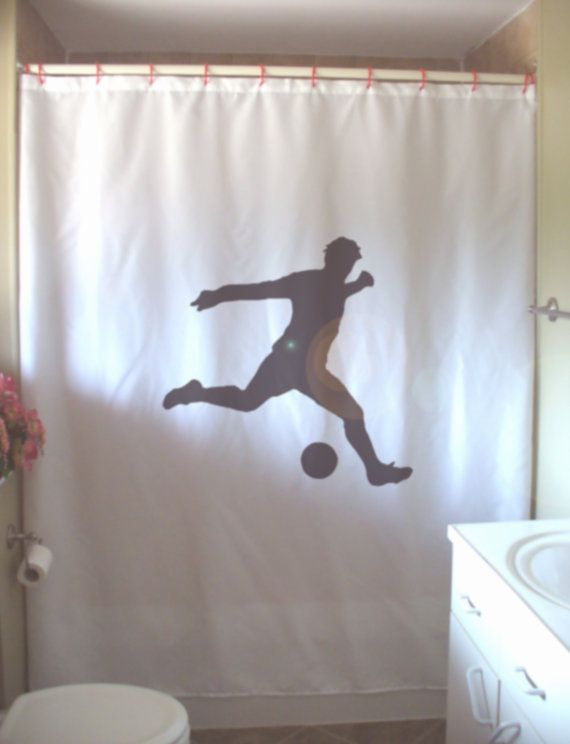 Items Similar To Soccer Kick Shower Curtain Football Goal Sport Score Fan  Player Ball Bathroom Decor Kids Bath Curtains Custom Size Long Wide  Waterproof On ...