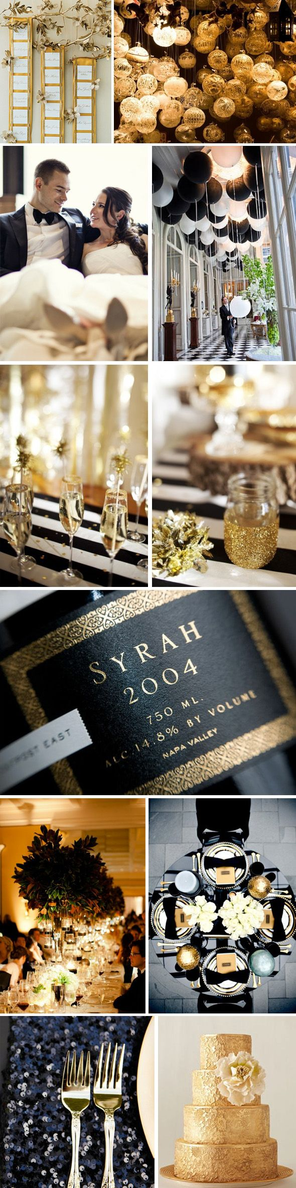 Black and Gold Party/Wedding Ideas. Love this color combo- classic and gorgeous! The Destination Wedding Blog - Jet Fete by Bridal Bar