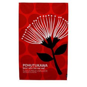 Stylised pohutakawa New Zealand NZIdentity Tea Towel - Pohutukawa Design