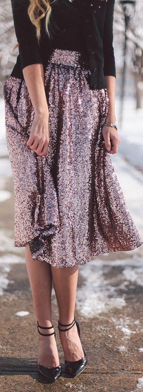 Sequin midi dress with black heels, sweater and cardigan. Love this outfit!   || Rita and Phill specializes in custom skirts. Follow Rita and Phill for more sequin skirt images. https://www.pinterest.com/ritaandphill/sequin-skirts/: