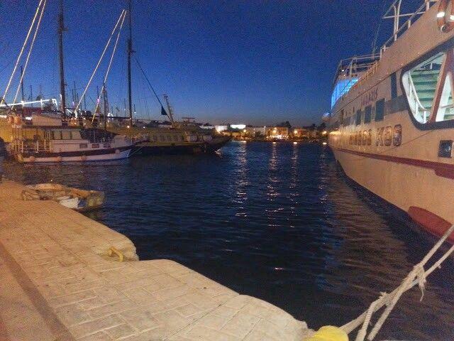 Kos harbour by night