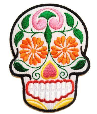 Flor Colorido Cráneo ' 7.1 x 9.4 cm ' - Parche Termoadhesivos Bordado Parches Para La Ropa Termoadhesivo Apliques Iron on Patch Catch The Patch