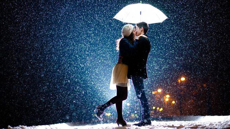 Romantic couple kiss in rain awesome wallpaper   HD Wallpapers Rocks