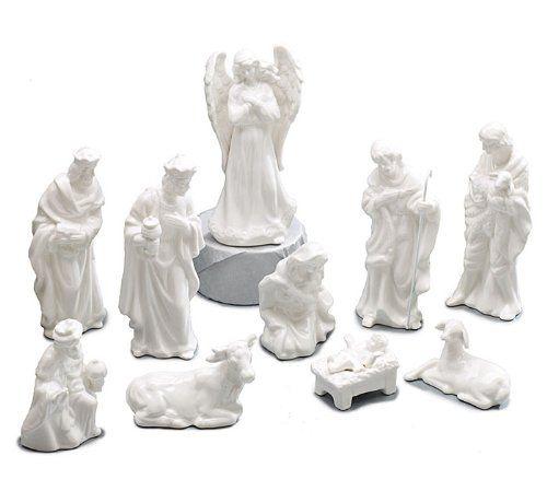 "10 Piece White Porcelain Miniature Nativity Figurine Set Beautiful Christmas Decor. 10 piece Nativity figurine set. Hand painted white porcelain figurines. Beautiful miniature Nativity set. Size of figurines range between: 1 1/2""H to 5 1/4"" high."