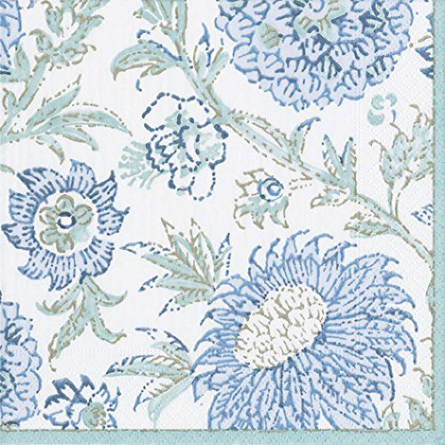 Inside A Tiny Florida Cottage Full Of Tropical Colors: Indienes Aqua Floral Blue Caspari Lunch Paper Napkins 20