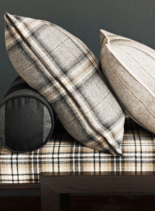 plaid flannel #bedding #gray #pillows