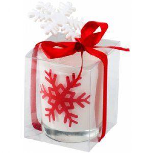 Sneeuwvlok kaars wit,rood 11258300  Sneeuwvlok kaars. Glas.