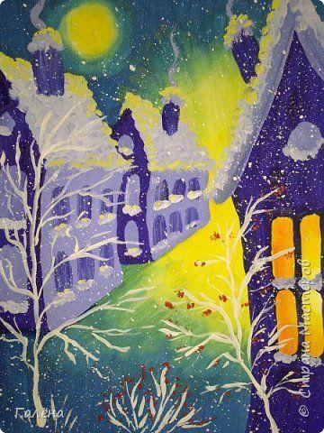"""Как выпал первый снег,мы с ребятами стали активно рисовать зимние работы.Одну из них мы назвали """"Новый год идет"""".Дети сами придумали это название,ассоциировав желтый свет на горизонте с приходом Нового года.Работа очень понравилась детям,оказалась по силам и пяти,и семилеткам.Поэтому я решила поделиться с вами этапами ее создания.Возможно,у вас появится вдохновение,захочется взять в руки давно забытые кисти и краски.Буду очень рада,если это произойдет и МК будет полезен. фото 1"""