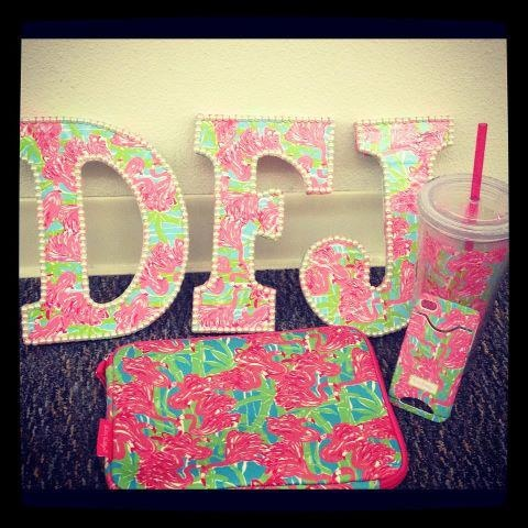 Letters in a Lilly Pulitzer print and trimmed with pearls!