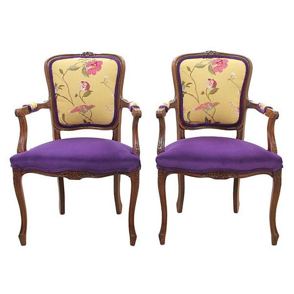 Pre-Owned Meadowood Buttercup Fauteuils Pair ($1,516) ❤ liked on Polyvore featuring home, furniture, chairs, accent chairs, twin pack, set of 2 accent chairs, pair accent chairs, second hand chairs and purple chair