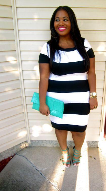 I like Pretty Clothes!! Body positive fashion blog. :): Size Fashionista,  Minis, Black And White, Curvy Girls, Curvy Women, Dresses, Big Girls, Curvy Fashion, Black Curvy