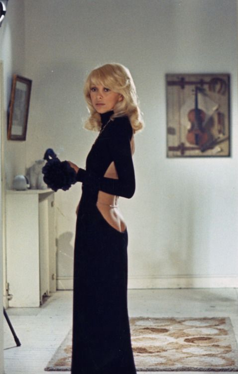 "saintlaurentgirl: ""Mireille Darc wearing Guy Laroche in The Tall Blond Man With One Black Shoe (1972) """