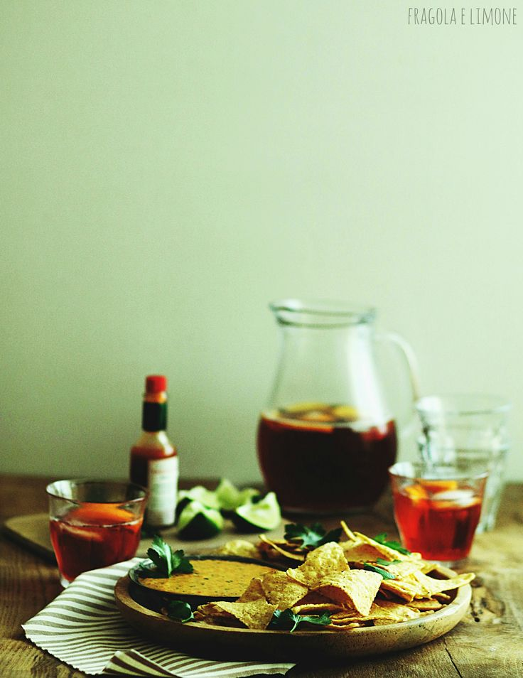 Campari Americano and jumbo chilli sauce