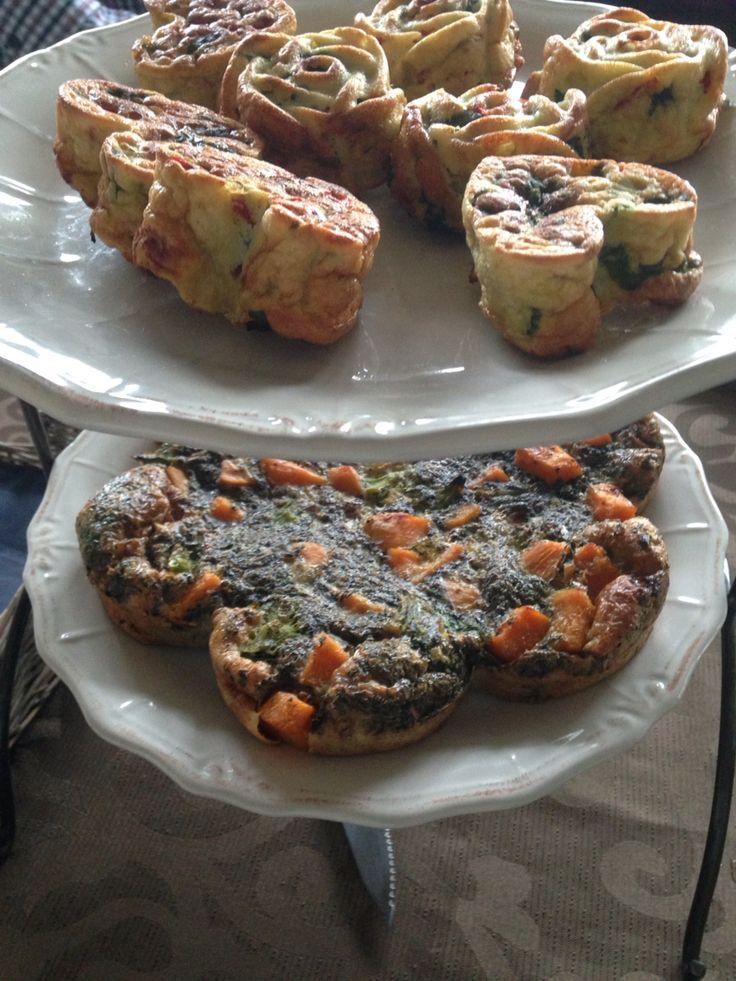 Paleostyle: lunch 21/11-2015 Broccoli/zoeteaardappel, ei quiche. Gezonde muffin: ei, wortel, paprika, ui, kruiden