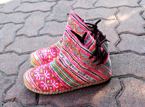 Funky Womens Ankle Boots Hmong Embroidered by SiameseDreamDesign, $58.00