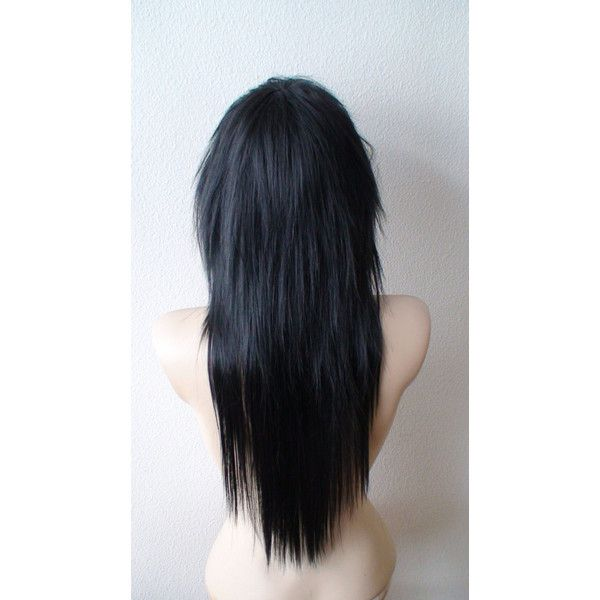 Emo wig. Scene wig. Black wig. Gothic hairstyle wig. Black Emo hair... ($138) ❤ liked on Polyvore featuring beauty products, haircare, hair styling tools, hair and hairstyle