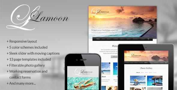 Lamoon - Responsive Resort and Hotel Template . Lamoon is a sleek, sharp and clean responsive website template for your resort and hotel business. It was designed in the purpose of being the best suit for reflecting your modern image to the website. However, by its flexibility, you will be able to adapt for not only the resort business but for