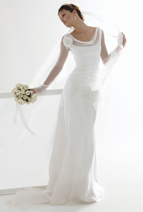 Brides: Le Spose Di Gi�. Long sleeves, sheer top, chiffon skirt, with train and flowers detail.