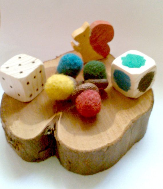 Hungry Squirrels - Color Sorting Game With Felted Acorns, Game for Four Players