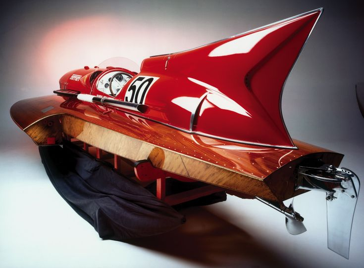 """1953 Ferrari Hydroplane, """"Arno Xi."""" The brainchild of Achille Castoldi (friend of Ferrari Grand Prix drivers Ascari and Villoresi), who sought to break the world water speed record. Built with help from Enzo Ferrari and one of his 12-cylinder, 4500 cc V12 Ferrari engines (the same installed in Ferrari's winning Type 375 Grand Prix car), and twin superchargers for added 502 hp at 6000 rpm. Castoldi set a new world record in October 1953 at 150.19 mph on Lake Iseo. Image by Silvano Maggi."""