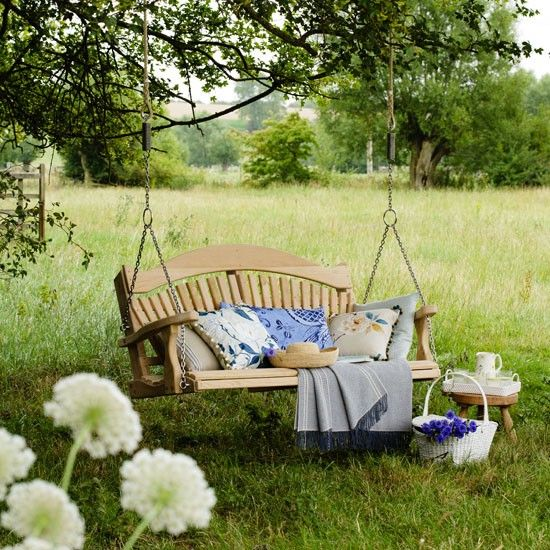 I imagine slowly swinging while listening to the birds chirping in the trees. Sipping tea :)