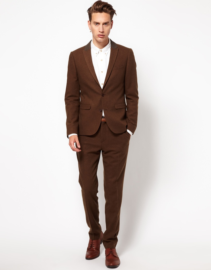 ASOS Skinny Fit Suit in brown | Gentleman in Suits | Pinterest
