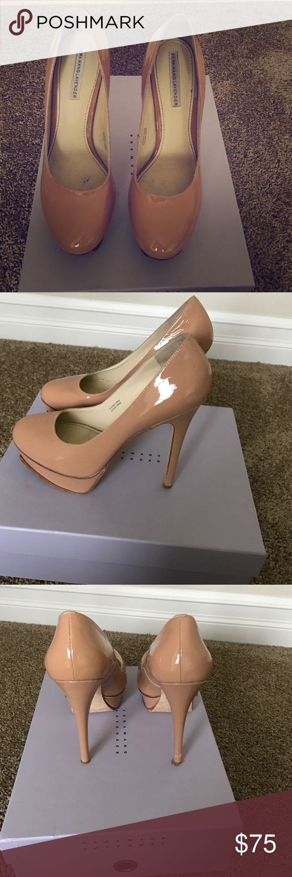 Nude patent leather Vera Wang pumps These are some lovely nude pumps! So comfortable and versatile shoe! Gently worn great for your spring wardrobe. There is a slight defect to the right heel but it can easily be fixed. Comes with box and dust bag. Vera Wang Shoes Heels