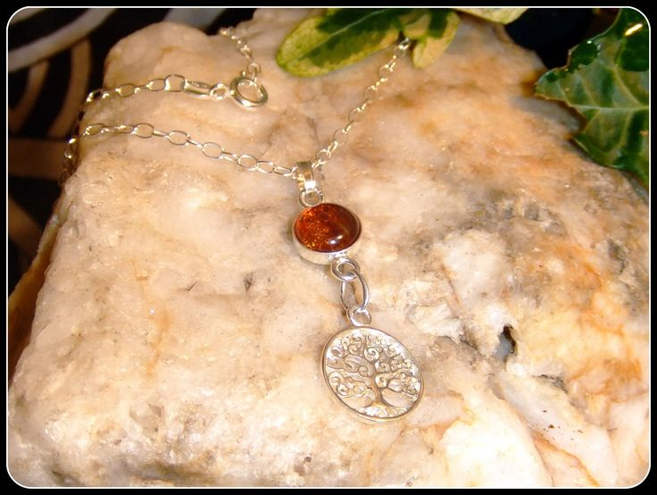"Amber Tree of Life Sterling Silver Pendant Necklace in .925 silver 18"" chain Valentines Day gift birthday gift mother bridesmaid"