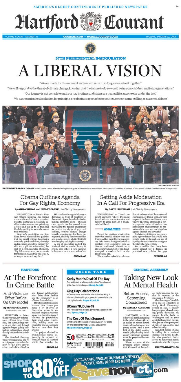 Hartford Courant, Hartford, Connecticut | The 27 Best Local Newspaper Front Pages About The Inauguration