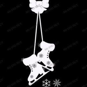 Hanging Ice Skates Window decoration  template