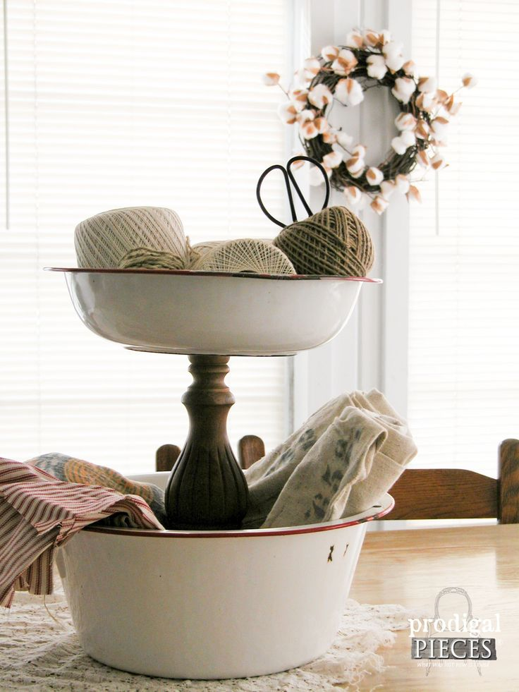 Repurposed Farmhouse Tiered Stand by Prodigal Pieces | www.prodigalpieces.com