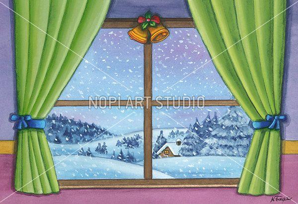 Download Printable Watercolor Painting, Christmas Art illustration, Wall Art Poster, Kids Holiday Decor, Printable Xmas Greeting Card by NopiArtStudio on Etsy