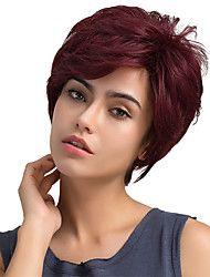 Fluffy naturlig delvis frynse kort hår menneskelige hår parykker for kvinne