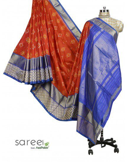 Red and Blue Patola Saree
