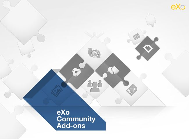 eXo Platform Community Add-ons: add Chat capabilities, connect your Google Drive and ease your developments with the developer extensions. Browse the eXo Add-ons Center: http://community.exoplatform.com/portal/intranet/add-ons?utm_campaign=eXo-Add-ons&utm_medium=social&utm_source=Pinterest&utm_content=eXoers