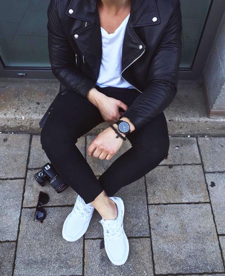 Black #leather jacket  black pants and @adidas sneakers  [ http://ift.tt/1f8LY65 ]