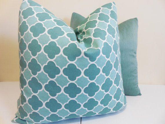 "Aqua Outdoor Kissen Cover - Richloom-Outdoor-Gewebe - marokkanischen inspiriert Gitter Muster-20 ""x 20""-Aqua-Outdoor-Kissen"