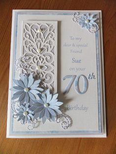 70th birthday card.  Pastel blue, Floral,