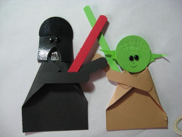Star Wars paper Craft - instead of stamping out the paper shapes you could cut them by hand (use simple shapes) to create the collage look.
