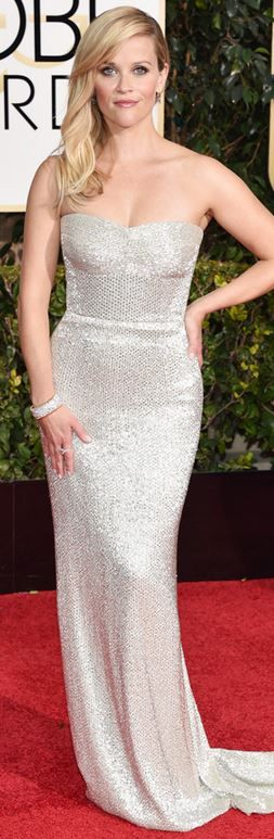 Reese Witherspoon, silver strapless gown