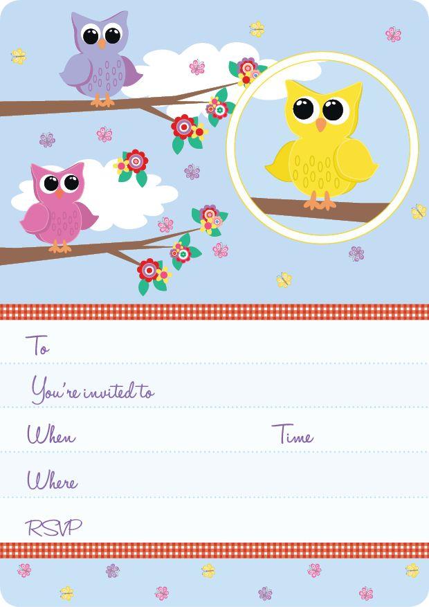 Blue Kids Party | Little Owls Invite Set- 15 Invites + coordinating envelopes + magnets $17.50 Shop for it http://www.partymama.com.au/girls-invitations-little-owls-invite-set-p-8.html