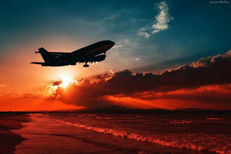 Samolot, Zachód, Słońca, Morze