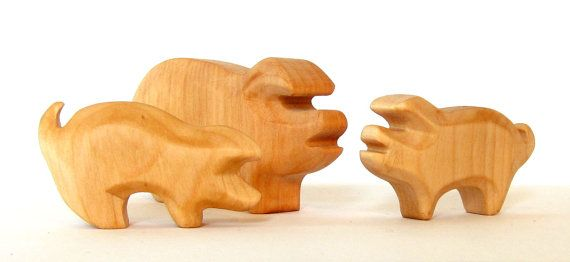 Pig Family Pig with Piglets Wooden animals by Baumstammbuch
