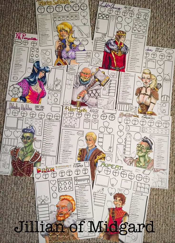 Custom Dungeons & Dragons Character Sheets! I made these for a D&D themed birthday party. Message me or email Jillian.holmberg@outlook.com for commissions!