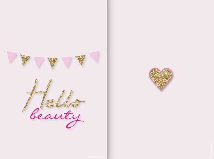 "Blogpost by Quiaimeastuces iPhone wallpaper ""Hello beauty"" Rose & doré - Pink & gold"
