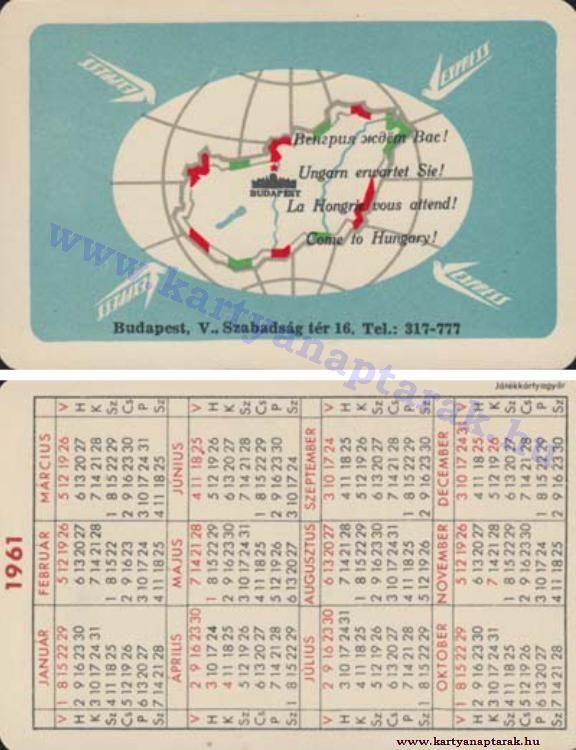 1961 - 1961_0078 - Régi magyar kártyanaptárak