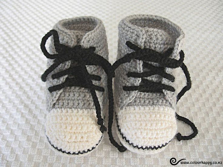 Baby High Tops - light grey ♥Made by Colour Happy / Adele, based on a pattern by Donna Childs